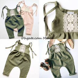 Wholesale Kids Belts Wholesale - ins kids belt lace rompers girls green & pink crochet floral cotton Jumpsuits infant cute romper 0-2year free ship