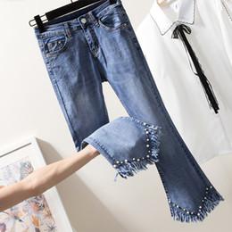 3d7264f5807 Plus Size Jeans For Women Beading Tassel Mid Waist Elastic Denim Pants Wide  Leg Ankle Length Femme Trousers Boyfriend Jeans 4XL
