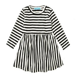 Wholesale Striped Dress Skirt Black - Autumn Girls Striped Dresses Long Sleeve 95% Cotton Blends Baby Girls Dresses Black White Stripes Skirt Breathable Spring Outfit 2-6T