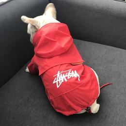 Wholesale raincoat dog red - Pet Useful Raincoats Little Teddy Puppy Schnauzer Apparel Outwears Tide Brand Outwear Dog Hooded Coat Black Red Sunscreen Apparel