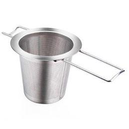 Infusor de teteras de acero inoxidable online-Reusable Colador de té de acero inoxidable Infusor Cesta de la cesta Plegable Infusor de té Cesta de té para la tetera CCA9198 50 unids