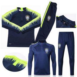 ropa de futbol Rebajas Maillot de fútbol brasileño calidad brasileña conjunto 2018 DAVID LUIZ Ropa deportiva 18 19 Copa del mundo brasileños NEYMAR JR COUTINHO trajes de entrenamiento