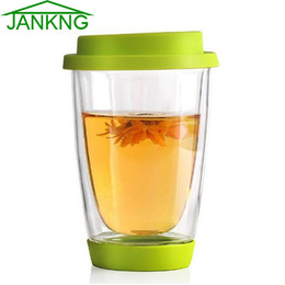 Красочные кружки онлайн-JANKNG Colorful Heat-resistant Double Wall Glass Cup with Silicon Cover and Bottom Clean Coffee Glass Mug Handmade Drinkware