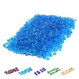 Guijarros de plástico online-Plástico 5-10 mm Artificial Blue Light Stone Fish Tank Acuario Fondo Decoración Acrílico Vidrio Guijarros Ornamento Calzada Jardín