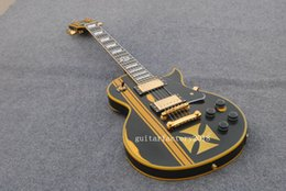 Wholesale Guitar Old - Electric Guitar with Matte Black Body and Yellow Cross Pattern on the Body,In Old Style