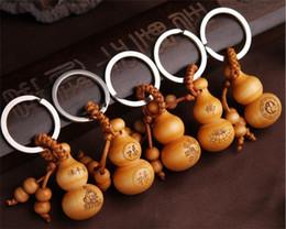 Chinois traditionnel bonne chance Gourde Porte-clés Mignon Mini pêche clé en bois porte-clés souhait chanceux pendentif voiture clés ornements R223 ? partir de fabricateur
