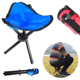 Wholesale camping stools chairs - Outdoor Three-Legged Fishing Stool Foldable Folding Stool Camp Beach Fishing Travel Camping Picnic Chair Garden Tools 2 ColorsOOA5021