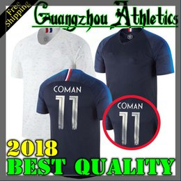 Wholesale Cup Teams - france pogba soccer Jersey 2018 World Cup home BLUE 18 19 PAYET DEMBELE MBAPPE GRIEZMANN KANTE national team football shirts COMAN AWAY whit