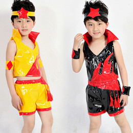 Baile de disfraces online-Nuevos Niños Jazz Dance Costume Boy Modern Dance Dress Kids Hip Hop Ropa Paillette Group Performance Wear 16