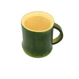Кружка чашки зеленый эко онлайн-Мода ручка творческий чашка чая ручной натуральный бамбук чашки зеленый Эко дружественных путешествия ремесла плесень доказательство деревянная кружка 6fq jj
