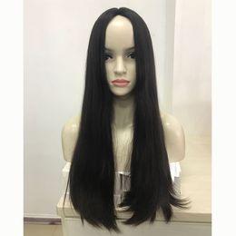 Peluca judía europea online-Peluca judía recta natural del pelo virginal europeo más fino, seda superior kosher peluca mejor Sheitels envío gratis