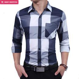 Wholesale Oversize Black Dress - Men'S Clothing Brand 2017 Fashion Male Shirt Long-Sleeves High Quality Oversize Plaid Mens Dress Shirts Slim Men Shirt M-3XL