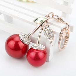 Llavero de cereza online-dongsheng Pretty Chic Red Cherry Crystal Keychain para Las Mujeres Rhinestone Bolsa Colgante Monedero Llaveros Colgante llaveros-10