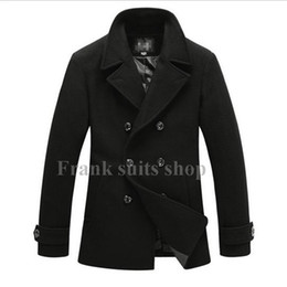 Wholesale Custom Trench Coats - Custom made 2017 men fashion new lapel woolen trench coats casual double breasted wool coats jackets