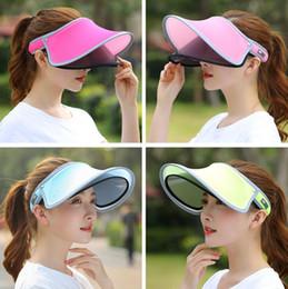 6 estilos Doble Sombrero Visor Sun Hat Mujer Verano Sol Vacío Top Cap UV Sun Sombrero Mujer Playa Sombrero FFA345 30 UNIDS desde fabricantes