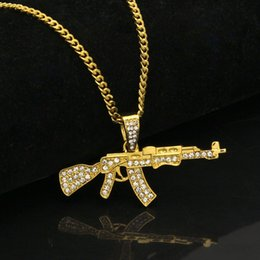 Wholesale Crystal Guns - Gun Pendant Necklace Men Alloy Full Crystal Bling Chain Hip Hop crystal Accessories Male Necklace 162649