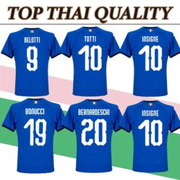 Wholesale Italy Home - Best quality 2018 italy world cup home soccer jersey fans top thai aaa quality football shirts soccer clothing custom name number buffon