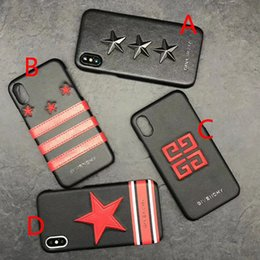 Wholesale Stripe Iphone - for iphone X case luxury brand metal embroidery star stripe phone case for iphone 7 7plus 8 8plus hard back cover for iphone 6 6S 6plus