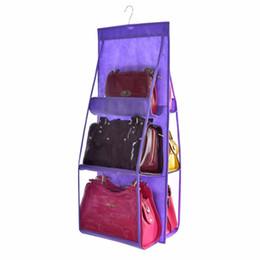 Wholesale wardrobe hangers - Nosii Double Side Transparent 6 Pocket Foldable Hanging Handbag Purse Storage Bag Sundry Tidy Organizer Wardrobe Closet Hanger