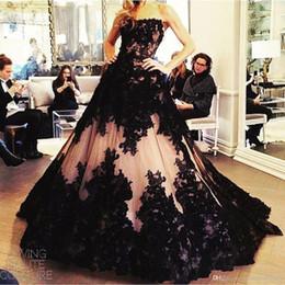 Wholesale Real Picture Zuhair Murad - Black Applique Ball Gown Prom Dresses Bateau Floor Length Plus Size Formal Evening Gowns Dresses Zuhair Murad