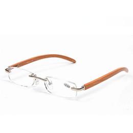 957e9230cf129 Moda Bamboo Legs sem aro óculos de leitura sem moldura óculos de prata  mulheres homens Eyewear Eye Reader Templo de madeira + 1.0 ~ + 3.5 força