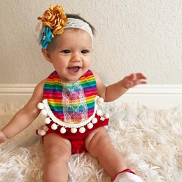 Wholesale T Shirts Lace Wholesale Printing - Girls Romper Colorful Stripes with Small Balls Edge T-shirt Lace-up Suspanders Printed Pullover Summer Breathable 3-18M