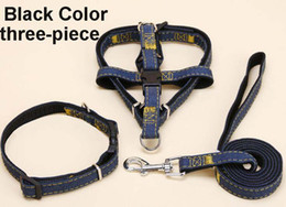 Wholesale rope necklaces materials - Dog harness Jean Material Adjustable Pet Dog Collars & Leashes Puppy Necklace Rope Collar Pet Supplies SK005