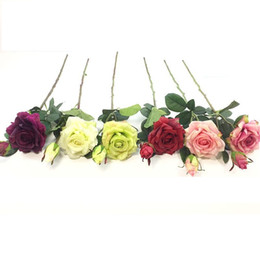 Rosas individuales online-6 colores Single-feeling Two Roses One Flower-one Bud Flor Artificial High-end Seda Decoración Flores Artificial Flower Wholesale