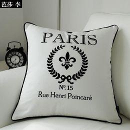 """Ücretsiz Kargo Moda """"Paris"""" Dekoratif Minder Örtüsü Atmak Yastık Örtüsü Pamuk Yastık Kılıfı 45X45 CM BSL-CC16 Toptan nereden siyah altın koltuk kapağı araba tedarikçiler"""
