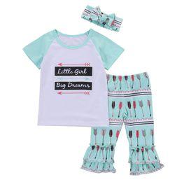 NUEVO Conjunto de ropa para niños pequeños niñas Little girl Grandes sueños letras divertidas Tops camiseta de manga corta + volantes + hairband 3 piezas Outfit desde fabricantes