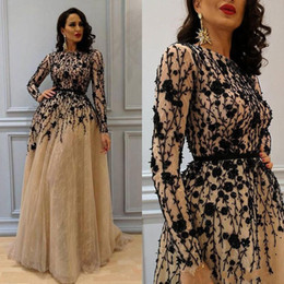 Wholesale Womens Formal Dress Size 12 - 2018 Gorgeous Beading Prom Gown with Long Sleeves Lace Crew Neckline Evening Dresses Champagne Elegant Womens Dress Plus Size Formal Wear