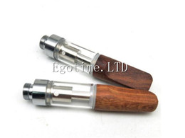 Wholesale Mouth Piece Atomizer - HOTSALE WOOD TIP TH205 ATOMIZER CCELL CARTRIDGE 510 THREAD GLASS VAPE CERAMIC COIL CCELL TANK WIHT WOODEN MOUTH PIECE 0.5ML 1.0ML DHL