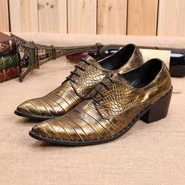 cuero repujado oro Rebajas zapatos de cuero italianos retro para hombre zapatos de tacón alto mocasines de cuero en relieve zapatos de vestir de hombre de piel de cocodrilo mariage