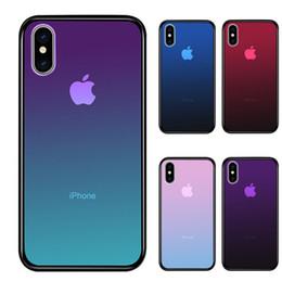 Étui en verre trempé transparent pour iPhone XS Max XR 7 8 X 6 Plus dégradé de couleur Bleu Ray Aurora Peau Arrière Couverture de Téléphone ? partir de fabricateur