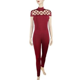 Wholesale Womens Jumpsuits New Arrivals - 2018 New Arrival Womens Choker High Neck Caged Sleeve Playsuits Long Jumpsuits Rompers High collared cage ladies jumpsuit