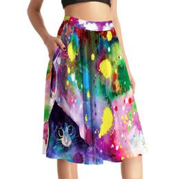Wholesale Vintage Cat Painting - Pottis Women Oil Paint Cat Print High Waist Pleated Skirt Skater Fashion Pockets Knee Length Elegant Vintage Saia Plus Size