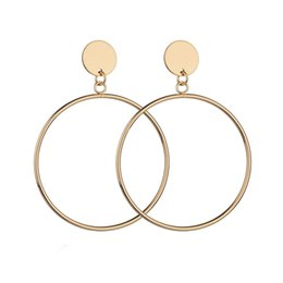 Wholesale Factory Outlets Europe - Europe and the United States creative very simple wind geometric circle texture big earrings ttaiwan show ring earrings factory outlet