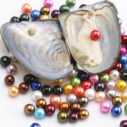 Wholesale blue coral loose - Round Oyster Pearl 2018 new 6-7mm 25 mix color Fresh water Natural pearl Gift DIY Loose Vacuum Packaging Wholesale free shipping