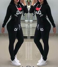 Pantalon de survêtement femme en Ligne-Nouveau femmes lettre pull ensemble automne hiver sports casual ensemble survêtement lettre costume pull + pantalon livraison gratuite