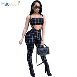 Wholesale Womens Jumpsuits Rompers - HAOYUAN Black And White Plaid Sexy Jumpsuit 2018 Summer Overalls Two Piece Set Crop Top Spaghetti Strap Rompers Womens Jumpsuit