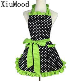 Wholesale Dress Bibs - Xiumood Fashion Sexy Aprons 100 %Cotton Cute Bib White Dots Kitchen Cooking Women Apron Dress With Pocket Gift