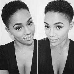 2019 estilo de cabelo humano africano Afro Crespo Encaracolado Cabelo Humano Preto Natural Brasileiro Virgem Cabelo Curto Barato Bob Peruca Para Afro-americanos Moda Estilo desconto estilo de cabelo humano africano