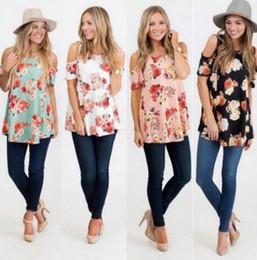 Wholesale Summer Women Jumpers - 2018 women t-shirt fashion Flower Floral Print Short Sleeved Shirt Sexy off shoulder Casual Slim Summer Ladies Jumper Tops Blouse Tee