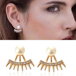 wholesale spikes studs jewelry NZ - Simple fashion ear jewelry Spiked full rhinestone pearl stud earrings 3 colors for girls mix allowed free shipping