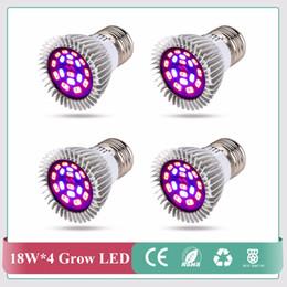 Argentina (4 unids / lote) 18 LEDs 12red + 6blue Grow Light E27 18W AC85-265V Full Spectrum Lámpara de planta de interior para Vegs Planta luz al por mayor cheap wholesale leds grow lights Suministro
