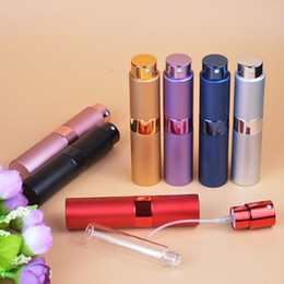 Wholesale travel perfume atomizer bottles - 10ml Perfume Atomizer Rotatable Travel Perfume Bottle Refillable Spray Portable Mini Cosmetic Container Multi Color NNA298