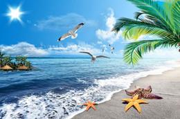 2020 vinylbodenkleber Moderner Boden-Anstrich 3D Meerblick-Strandbodenanstrich Mural-3d PVC-Tapete selbstklebender Boden Wallpaper-3d rabatt vinylbodenkleber