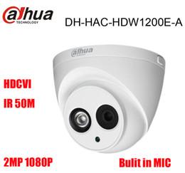 2019 micrófono Dahua DH-HAC-HDW1200E-A Cámara HDCVI incorporada MIC 2MP IR 50M IP67 Cámara domo de seguridad CCTV HAC-HDW1200E-A rebajas micrófono