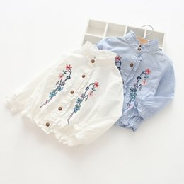 Wholesale kids blouse embroidery - Flowers embroidery girls shirt 2018 autumn new kids ruffle collar flare sleeve stripe blouse children elastic falbala princess tops Y3284