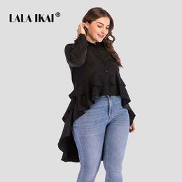 b0e3b1738b4 длинные шикарные блузки черные Скидка LALAIKAI плюс Размер XL 2XL 3XL 4XL  Autmn чистый черный блузка